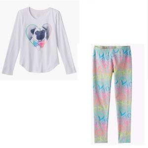 SO Pug shirt and heart print leggings size 16